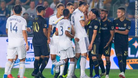 Things got heated with Los Angeles Galaxy forward Zlatan Ibrahimovic (9) and Los Angeles FC midfielder Lee Nguyen (24) back on August 24, 2018.