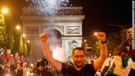 Algeria supporters celebrated long into the night in Paris.