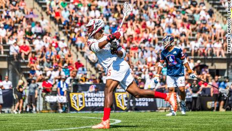 Premier Lacrosse League player Myles Jones takes a shot on goal. Jones plays for the Chaos, one of six PLL teams.