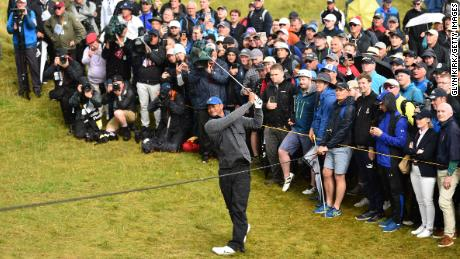 Tiger Woods tangled with the rough to the left of the long seventh.