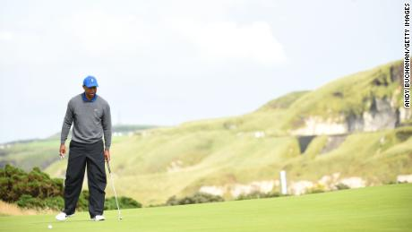Tiger Woods' round began to go downhill at the fifth.