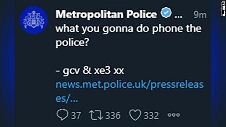 Hackers post freakish series of tweets on Met Police account