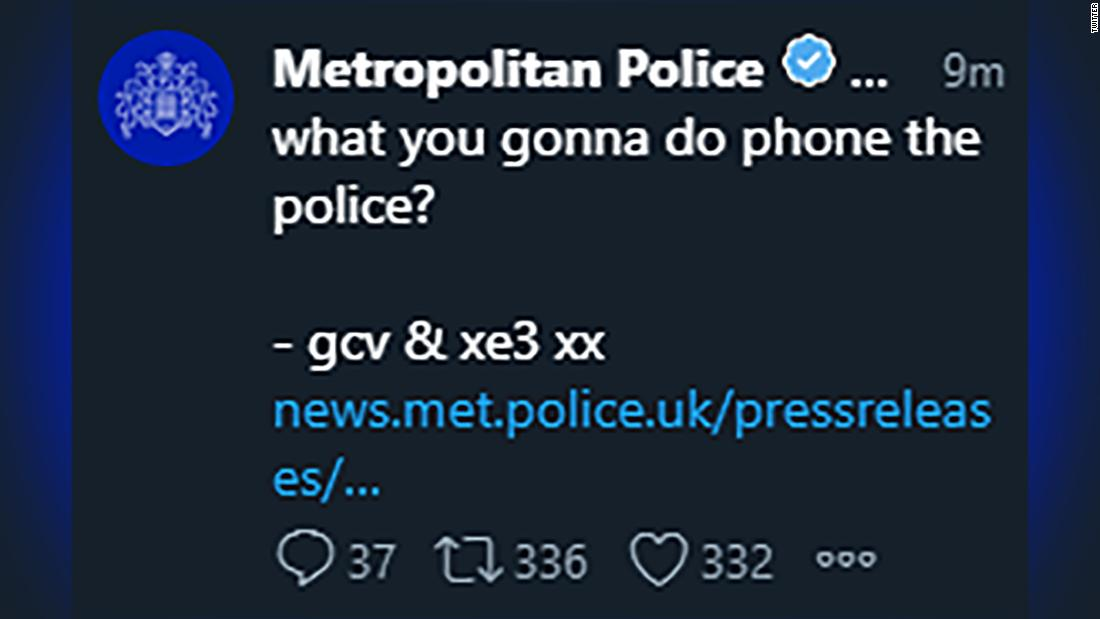 Hackers take over the London Metropolitan Police's Twitter account - CNN