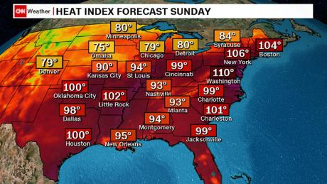 This map shows heat index forecasts for Sunday, as of the early morning.
