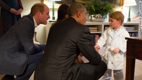 Prince George met President Obama and first lady Michelle Obama at Kensington Palace in 2016.