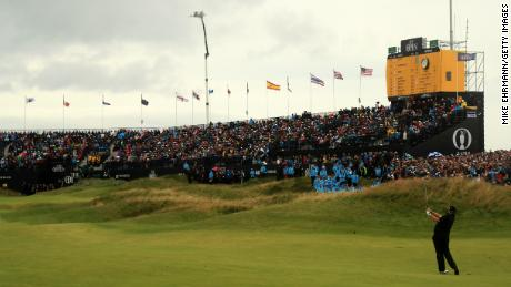Shane Lowry plays his second shot into 18 en route to winning the Open.