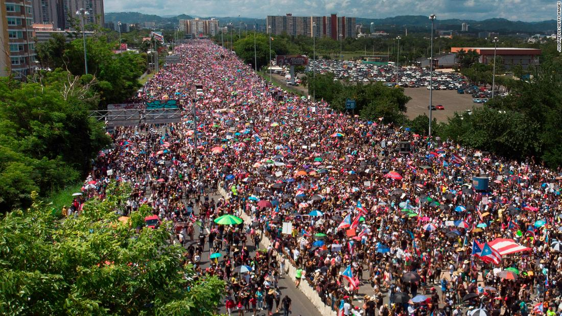This aerial view, taken from a drone in San Juan, Puerto Rico, shows protesters on the Expreso Las Americas highway on July 22.