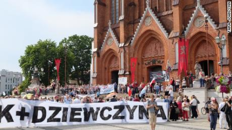 Hundreds took part in a vigil outside Bialystok Cathedral