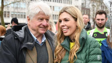 Boris Johnson's father Stanley with Carrie Symonds at an anti-whaling protest outside the Japanese Embassy in London.