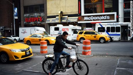A man delivers food in New York. (Jewel Samad / AFP / Getty Images)
