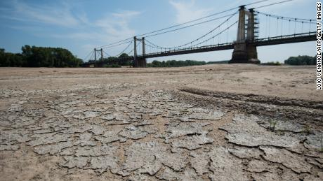 A dry part of the bed of the River Loire at Montjean-sur-Loire, western France on Wednesday.