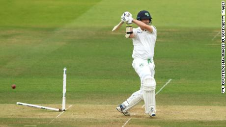 Ireland batsman Tim Murtagh is bowled by Chris Woakes to finish the match.