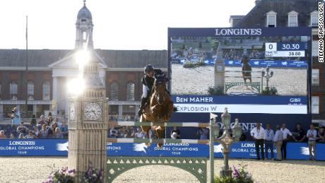 Ben Maher riding Explosion W in the London leg of the Longines Global Champions Tour in 2018.