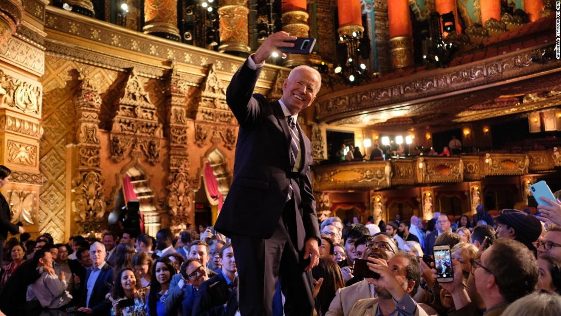 Biden takes a selfie with supporters in Detroit after CNN's Democratic debates in July 2019.
