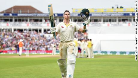 Steve Smith of Australia salutes the crowd as he leaves the field after being dismissed by Chris Woakes.