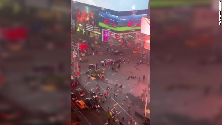 Motorcycle backfiring causes panic in Times Square