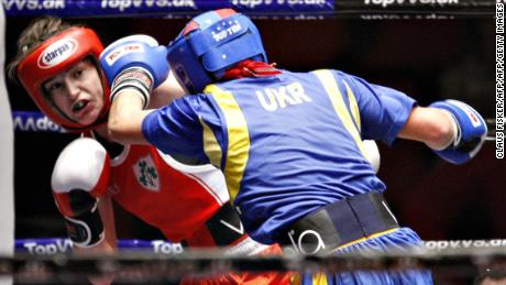 Taylor (L) fights with Yana Zavyalova from Ukraine during the semifinals of the European Amateur boxing in 2007.