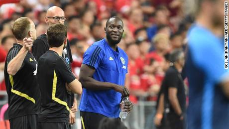 Romelu Lukaku (C) is seen with his team before the International Champions Cup football match between Manchester United and Inter Milan in Singapore.