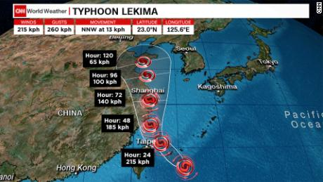Typhoon Lekima is heading toward Japan and Taiwan.