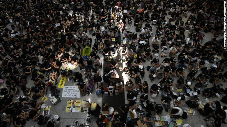 China calls Hong Kong protests 'terrorism' as flights cancelled
