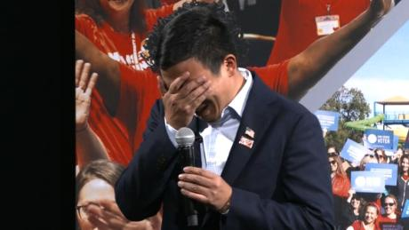 Andrew Yang breaks down in tears at gun safety town hall: 'I have a six- and three-year-old boy, and I was imagining...'