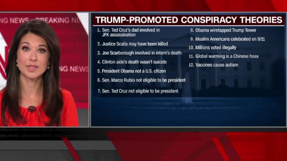 CNN anchor lists the conspiracy theories Trump has pushed