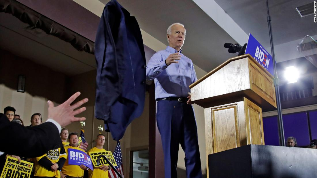 "Biden tosses his jacket off stage as he begins to speak at a rally in Pittsburgh in April 2019. Days earlier, he announced that <a href=""https://www.cnn.com/2019/04/25/politics/joe-biden-2020-president/index.html"" target=""_blank"">he would be running for president</a> for a third time."