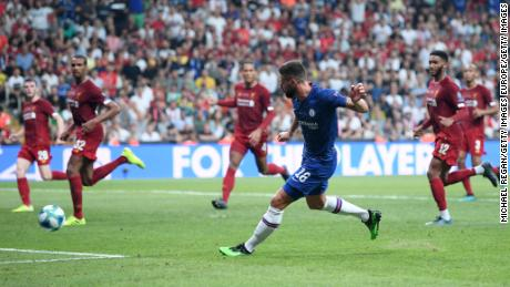 Olivier Giroud gave Chelsea a first-half lead in Istanbul.