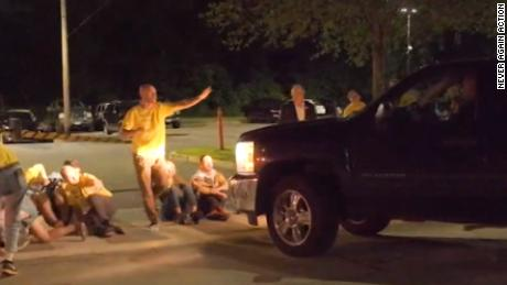 A group of protesters were demonstrating against ICE outside a detention facility in Providence, Rhode Island, when a truck drove up.