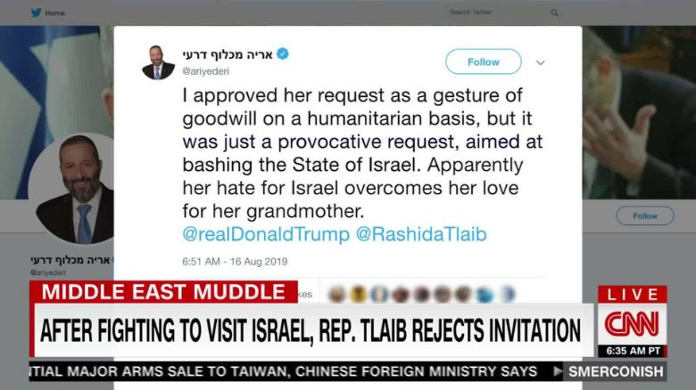 Tlaib says she won't visit Palestine under Israel's 'oppressive conditions'