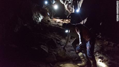 Goldminers underground in Venezuela's Orinoco Mining Arc.