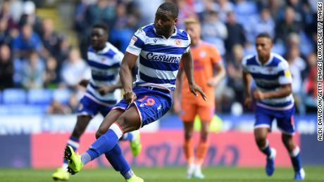 Yakou Meite of Reading takes a penalty but fails to score during the game between Reading and Cardiff City on August 18.