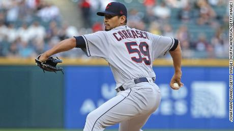 Carrasco pitches a ball against the Chicago White Sox.