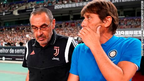 Maurizio Sarri of Juventus and Antonio Conte of Inter talk prior to the International Champions Cup match in China on July 24.