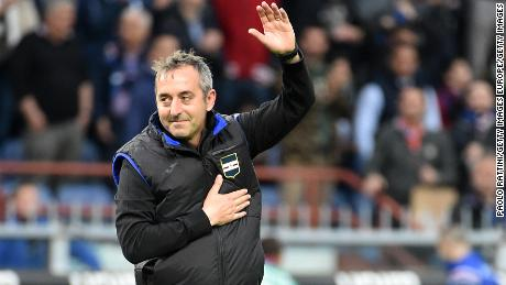 Marco Giampaolo in his last home match as Sampdoria manager.