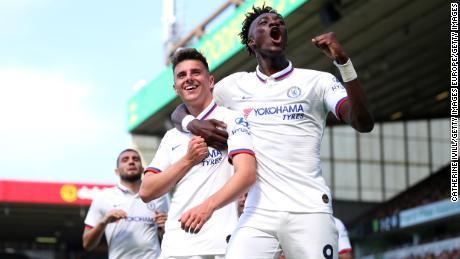 Chelsea academy graduates Mason Mount and Tammy Abraham celebrate scoring against Norwich