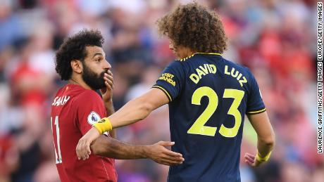Mohamed Salah and David Luiz of Arsenal discussed the penalty incident after the final whistle
