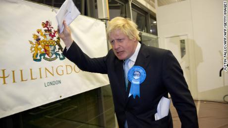 Boris Johnson reacts after winning the Uxbridge and South Ruislip seat in 2015.