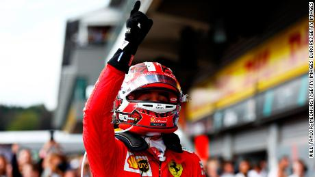 Charles Leclerc points to the sky and dedicates his win to his late friend Anthoine Hubert.