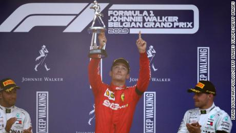 Charles Leclerc celebrates his first Formula One win.