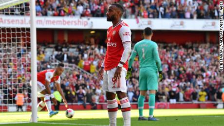 Alexandre Lacazette celebrates after scoring Arsenal's first goal.