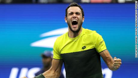 Matteo Berrettini celebrates after beating Gael Monfils to reach the US Open semifinals.