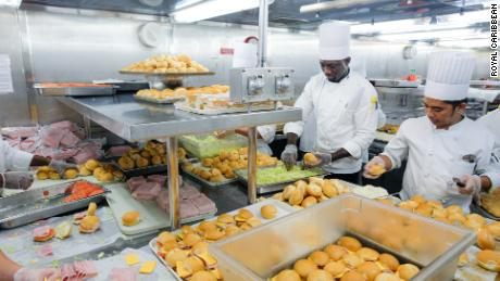 Royal Caribben chefs preparing meals for the Bahamas.