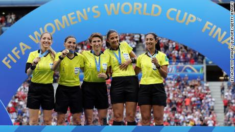 Frappart, O'Neill and Nicolosi with their Women's World Cup final medals.