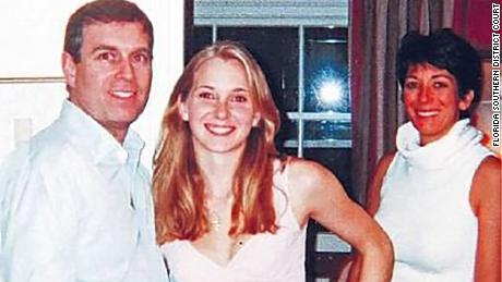 Photograph appearing to show Prince Andrew Duke York with Jeffrey Epstein's accuser Virgina Giuffre and alleged madam Ghislaine Maxwell