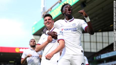 Tammy Abraham celebrates with Mason Mount, another of the youngsters Lampard has shown faith in.