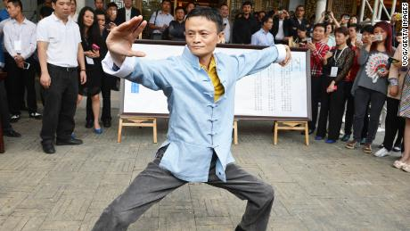 Alibaba Group Chairman Jack Ma performs martial art during the 2018 Taobao Maker Festival.