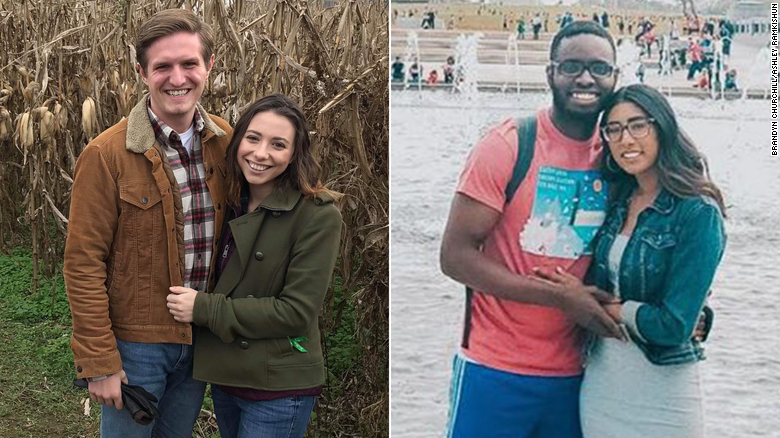 Brandyn Churchill and Sophie Rogers, left, and Samuel Sarfo and Ashley Ramkishun sued Virginia over a requirement that race be disclosed in marriage license applications.