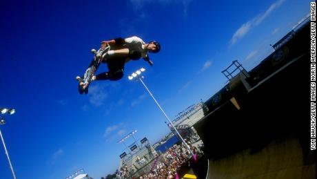 Hawk grabs his skateboard vertical during the X-Games in San Diego.