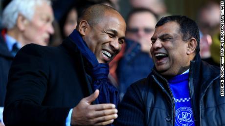 Les Ferdinand alongside former QPR owner Tony Fernandes.